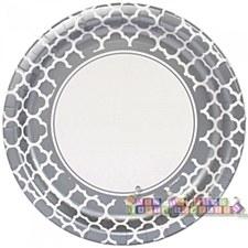 9IN Silver Quatrefoil Plates