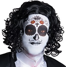 Day of the Dead Male Mask with Attached Wig