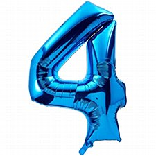 "34"" #4 Blue Mylar Balloon"