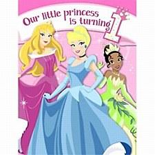 Disney 1st Birthday Princess Invitations