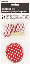 Ruby Red Dots Cupcake Kit for 24