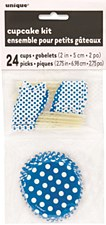 Royal Blue  Dots Cupcake Kit for 24