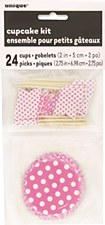 Hot Pink Dots Cupcake Kit for 24