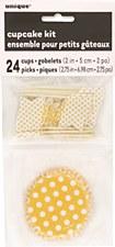 Yellow Dots Cupcake Kit for 24