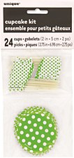 Lime Green Dots Cupcake Kit for 24