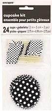 Black Dots Cupcake Kit for 24