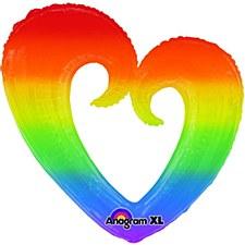 """32""""Rainbow Open Heart"""