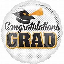 """18"""" Grad Silver Dots balloon"""