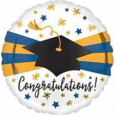 Blue and Gold Congratulations Balloon