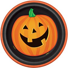 "Smiling Pumpkin 7"" Plates"