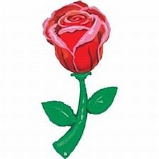 "60"" Single Red Rose Helium Shape"