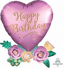 "30""Birthday Satin Heart with Flowers"