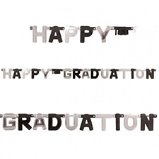 Happy Graduation Banner Black/Gold
