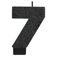 #7 Black Glitter Birthday Candles