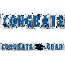 Graduation Metallic Blue Fringe Banner 5ft