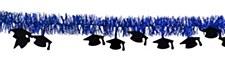 Blue Tinsel Graduation Garland