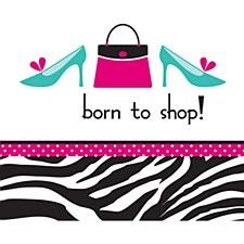 Born To Shop Pink Zebra Lunch Napkin