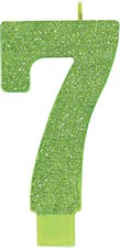 #7 Green Glitter Birthday Candle