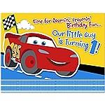 Cars 1st Birthday Invitations