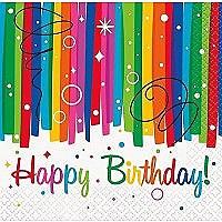 Rainbow Ribbons Birthday Bev Napkins