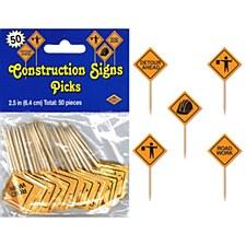 Construction Signs Picks, 50ct