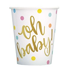 """""""Oh Baby"""" Gold Baby Shower Cups"""