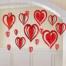 3D Foil Red Hearts Decoration 16Ct