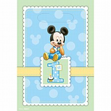 Mickey 1st Birthday Folded Loot Bags - Plastic