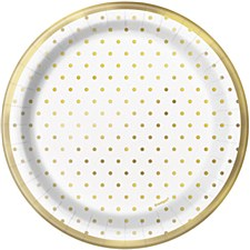 Elegant Gold Dots 7in Plate