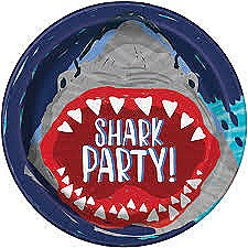 Shark Party Plates 9IN