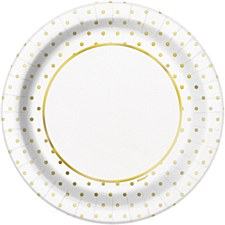 Elegant Gold Dots Lunch Plate