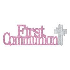 Pink Glitter First Communion Centerpiece