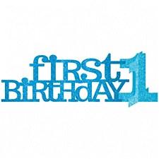 Blue Glitter First Birthday Centerpice