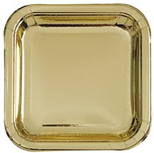 """9"""" Gold Square Plate"""