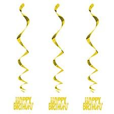 Gold Happy Birthday Swirls