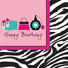 H. Birthday Pink Zebra Lunch Napkins