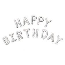 Silver Happy Birthday Banner Kit