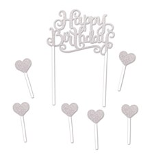 "Silver ""Happy Birthday"" Cake Banner"
