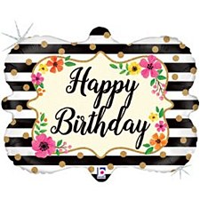 "30"" Floral Birthday Marquee Foil Balloon"