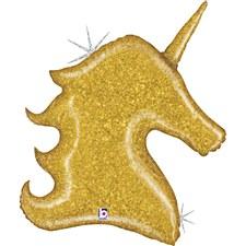 "38"" Gold Glitter Unicorn"