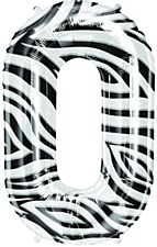 "34"" Number ""0"" Balloon - Zebra"