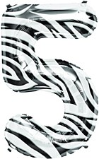 "34"" Number ""5"" Balloon - Zebra"