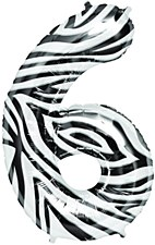 "34"" Number ""6"" Balloon - Zebra"