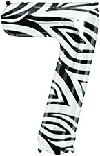 "34"" Number ""7"" Balloon - Zebra"