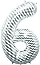 "34"" Number ""6"" Balloon - Chevron"