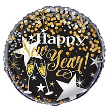 18 inch Gold and Black HNY Balloon