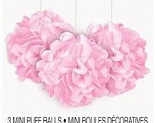 3 Lovely Pink Mini Puff Balls