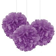 3 Pretty Purple Mini Puff Balls