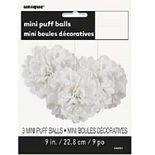 3 White Mini Puff Balls