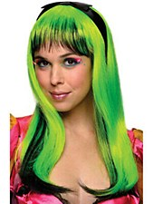NEON DOLL WIG LIME GREEN